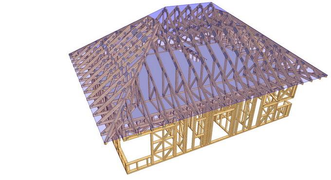 proiect casa din lemn - sarpanta prefabricata cu ferme din lemn asamblate cu placi multicui
