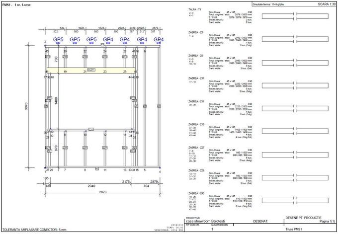 proiectare case din lemn - desen perete din lemn tip framing 1