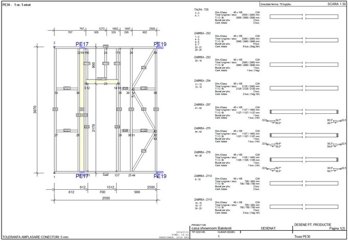 proiectare case din lemn - desen perete din lemn tip framing 2